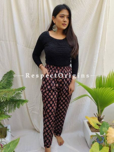 Black Pure Cotton Ajarkh Printed Elasticated Waist Harem Pants or Palazzo with 2 pockets ; 38 Size; RespectOrigins.com