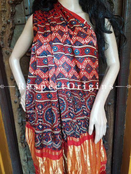 Red Ajrakh Modal Silk Saree with Pattu Red and Gold Zari Pallu Red; Blouse Included; RespectOrigins.com