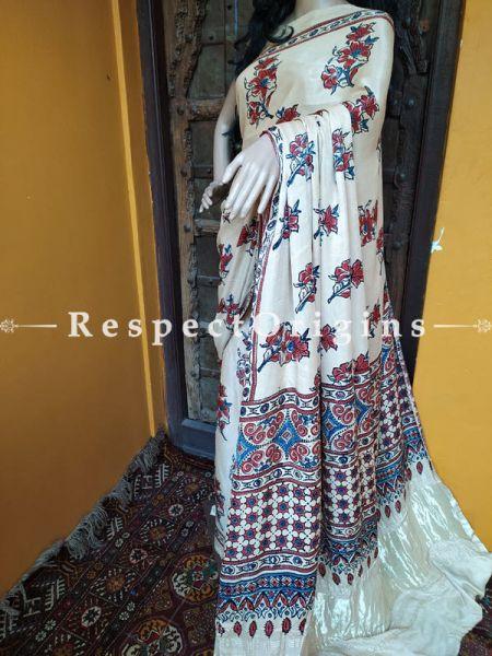 Cream Ajrakh Modal Silk Saree with Pattu Zari Pallu; Blouse Included; RespectOrigins.com