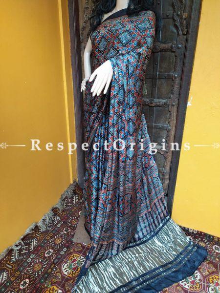Ajrakh Modal Silk Saree with Pattu Zari Pallu Black, Blue and Red; Blouse Included; RespectOrigins.com