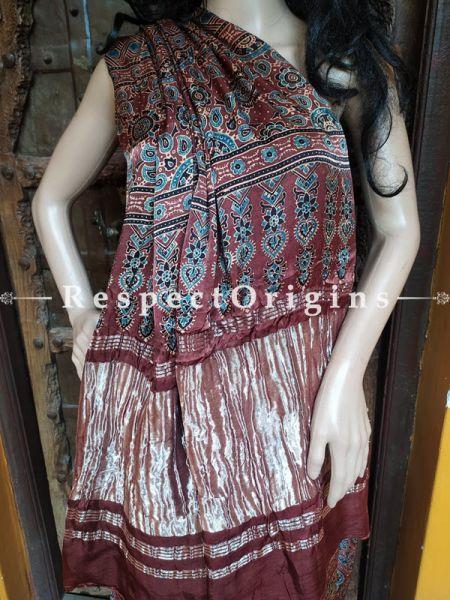 Brown and Blue Ajrakh Modal Silk Saree with Pattu Zari Pallu; Blouse Included; RespectOrigins.com