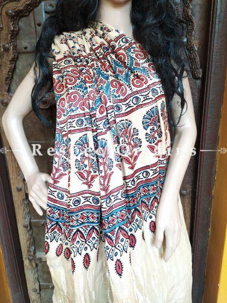 Ajrakh Modal Silk Saree with Pattu Zari Pallu Cream; Blouse Included; RespectOrigins.com