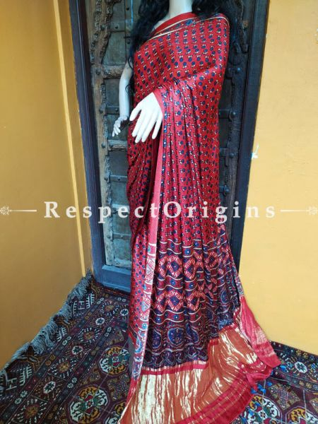 Red and Blue Ajrakh Modal Silk Saree with Pattu Gold Zari Pallu; Blouse Included; RespectOrigins.com