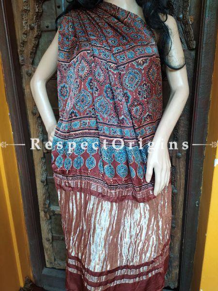 Red and Blue Ajrakh Modal Silk Saree with Pattu Red and Gold Zari Pallu; Blouse Included; RespectOrigins.com