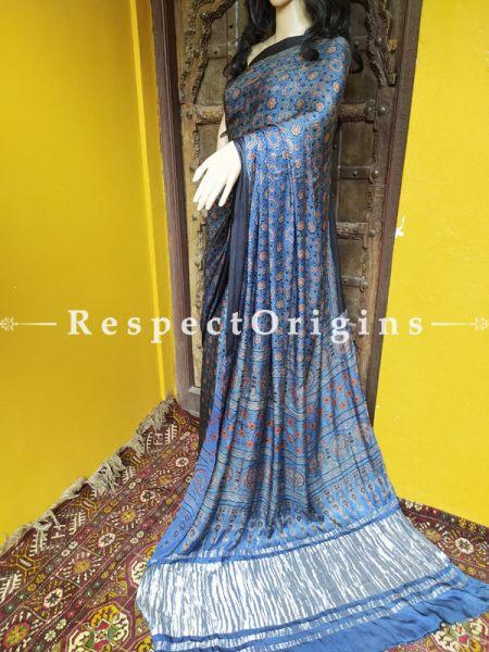 Blue Ajrakh Modal Silk Saree with Pattu Zari Pallu and Black Border; Blouse Included; RespectOrigins.com