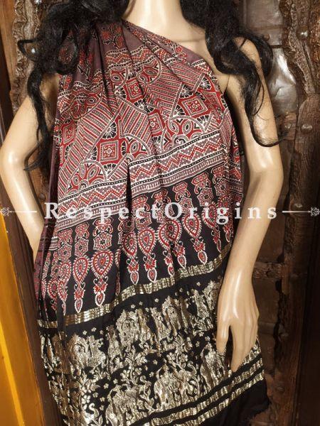 Brown Base Ajrakh Modal Silk Saree with Pattu Black and Gold Zari Pallu; Blouse Included; RespectOrigins.com