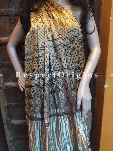 Brown Base Ajrakh Modal Silk Saree with Pattu Gold Zari Pallu; Blouse Included; RespectOrigins.com