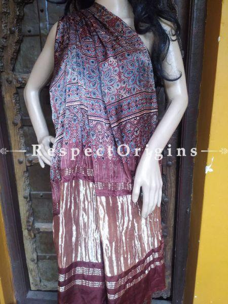 Maroon Ajrakh Modal Silk Saree with Pattu Gold Zari Pallu; Blouse Included; RespectOrigins.com
