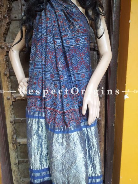 Blue Ajrakh Modal Silk Saree with Pattu Zari Pallu Blue; Blouse Included; RespectOrigins.com