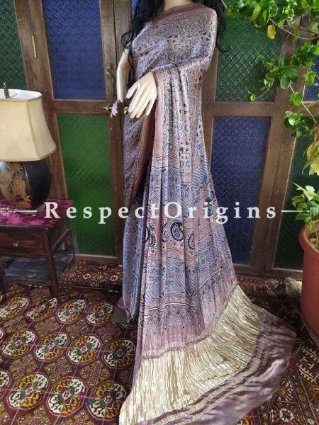 Blue and Brown Ajrakh Modal Silk Saree with Pattu Zari Pallu; Blouse Included; RespectOrigins.com
