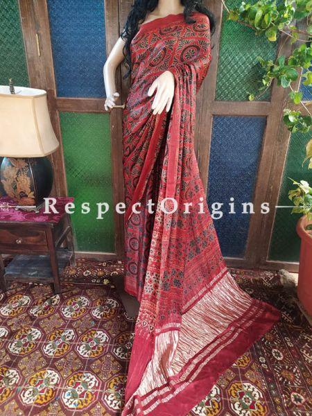 Red Ajrakh Modal Silk Saree with Pattu Gold Zari Pallu Red; Blouse Included; RespectOrigins.com