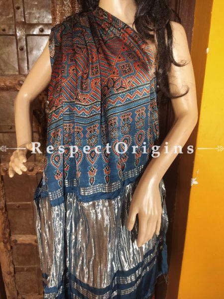 Blue and Red Ajrakh Modal Silk Saree with Pattu Zari Pallu; Blouse Included; RespectOrigins.com