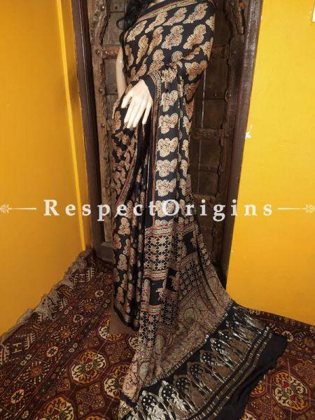 Ajrakh Modal Silk Saree with Pattu Zari Pallu Black; Blouse Included; RespectOrigins.com