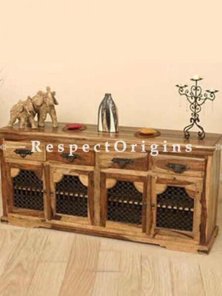 Buy Alex Large Console or Hutch Cabinet; Natural Wood, 4 Drawers and Storage At RespectOrigins.com