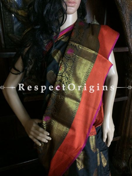 Black-Orange Handwoven Banarasi Cotton Silk Saree; Zari Border & Butis; RespectOrigins.com