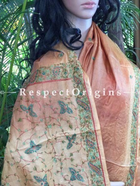 Buy Almond shades on Beige; Kashmiri Silk Saree at RespectOrigins.com