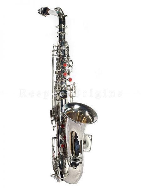 Brass Nickel Coated Alto Saxaphone in Silver Finish; RespectOrigins.com