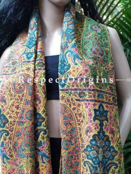 Buy Ananya Turmeric Yellow Kalamkari Kashmiri Designer Pashmina At RespectOriigns.com