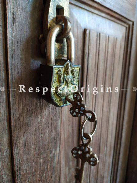 Buy Brass Handcrafted Vintage Finish Saraswati Lock & Key Set at RespectOrigins