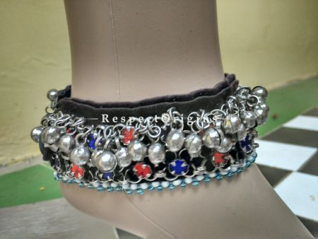 Gorgeous Anklet With Red & Blue Stone; German Silver; RespectOrigins