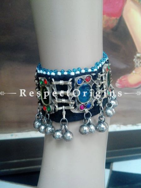 Exotic Anklet With Red - Green & Blue Stone; German Silver, RespectOrigins.com