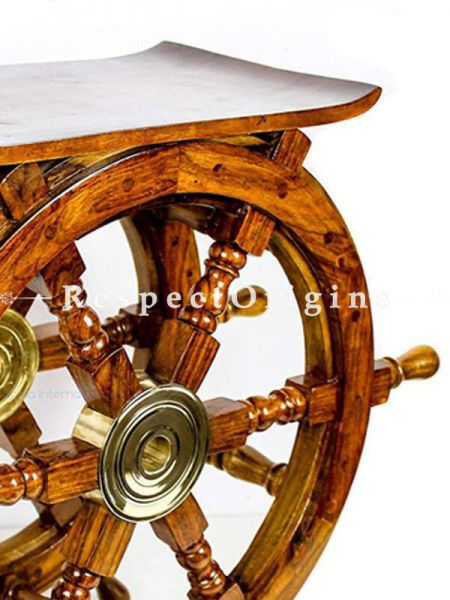 Buy Wooden Ship Wheel Home Decor Table; Pirates Antique Brass Hub Motif (24 inches) At RespectOrigins.com