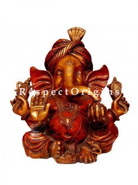 Well Carved Antique Finish Lord Ganesha Brass Idol; 15 Inches