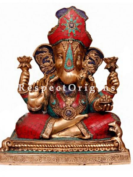 Buy Multicolored Exclusive Lord Ganesha Brass Statue 16 Inches at RespectOrigins.com