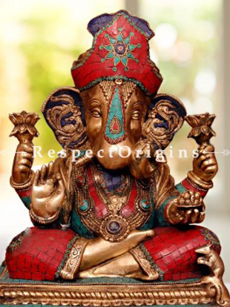 Multicolored Exclusive Lord Ganesha Brass Statue; 16 Inches