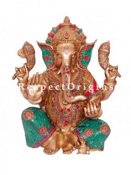 Colorful Handcrafted Lord Ganesha Brass Statue; 20 Inches
