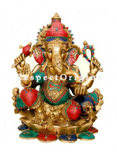 Buy 28 Inches Carved Statue Of Lord Ganesha Over Lotus Brass at RespectOrigins.com