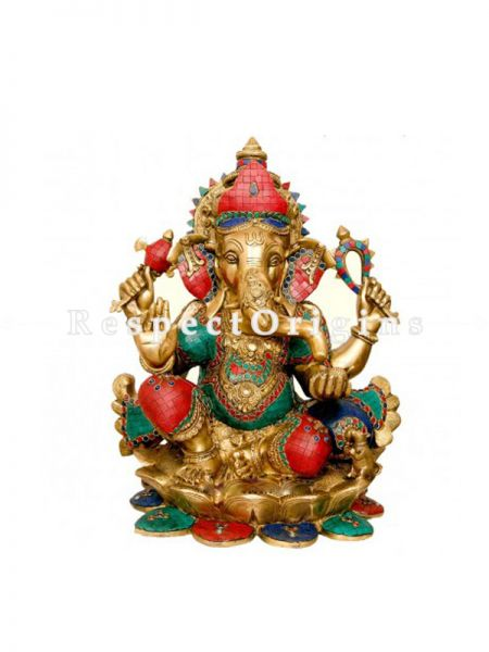 28 Inches Carved Statue Of Lord Ganesha Over Lotus; Brass
