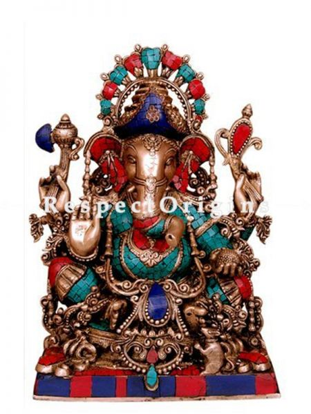 Buy 25 Inches Lord Ganesha Brass Statue With Peacock Feather Colors at RespectOrigins.com