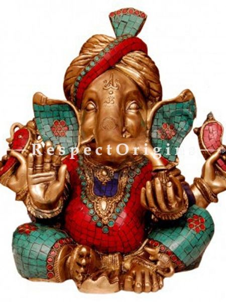 Buy Multicolored Exclusive Lord Ganesha Brass Statue 15 Inches at RespectOrigins.com