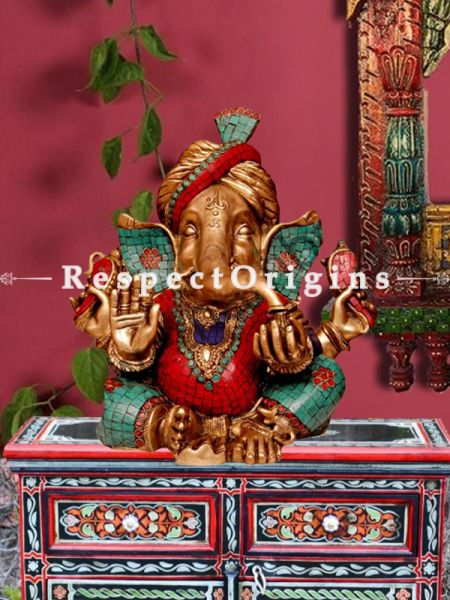 Multicolored Exclusive Lord Ganesha Brass Statue; 15 Inches