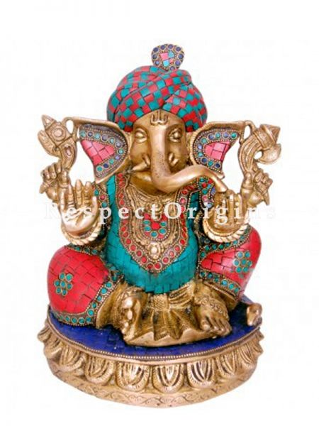 Buy Multicolor Lord Ganesha Brass Statue Of 11 Inches at RespectOrigins.com