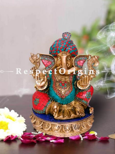 Multicolor Lord Ganesha Brass Statue Of 11 Inches