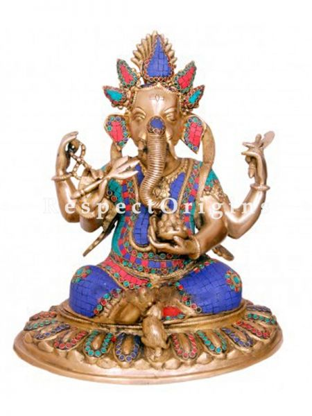 Buy Exclusive Lord Ganesha Brass Statue 12 Inches Multicolor at RespectOrigins.com