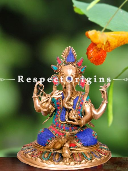 Exclusive Lord Ganesha Brass Statue; 12 Inches; Multicolor