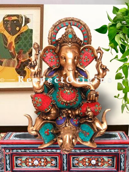 Multicolor Handcrafted Lord Ganesha Brass Statue; 25 Inches