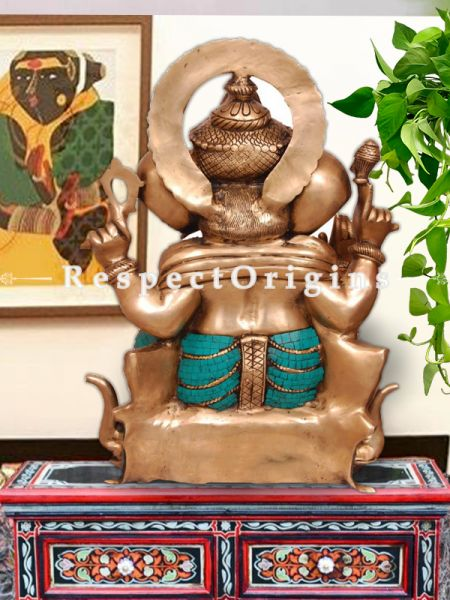 Buy Multicolor Handcrafted Lord Ganesha Brass Statue 25 Inches at RespectOrigins.com