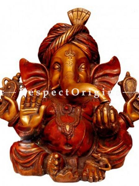 Buy Well Carved Antique Finish Lord Ganesha Brass Idol 15 Inches at RespectOrigins.com