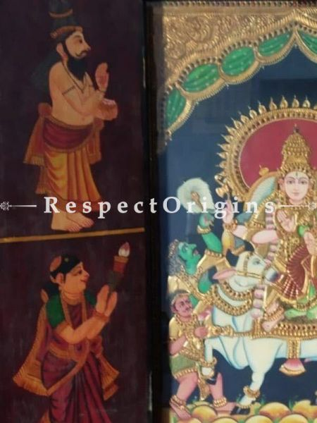 Buy Antique Original Tanjore Shiv- Parvati Temple Painting At RespectOrigins.com