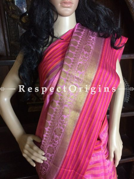 Handwoven Pink Banarasi Cotton Silk Saree; Zari Border & Butis; RespectOrigins.com