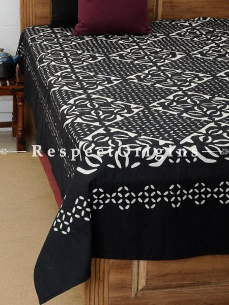Buy Applique Work Black and White Double Bed Cover; Cotton, 90x108 in At RespectOrigins.com