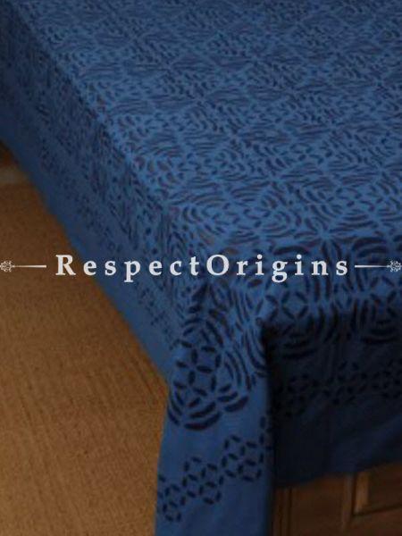 Buy Applique Work Blue & Black Double Bed cover; Cotton, 90x108 in At RespectOrigins.com