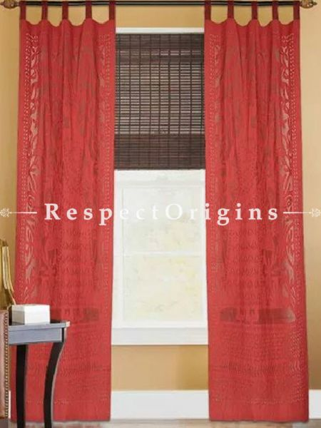 Buy Lady With Floral Design Applique Cut Work Cotton Window or Door Curtain in Red Color; Pair; Handcrafted At RespectOrigins.com