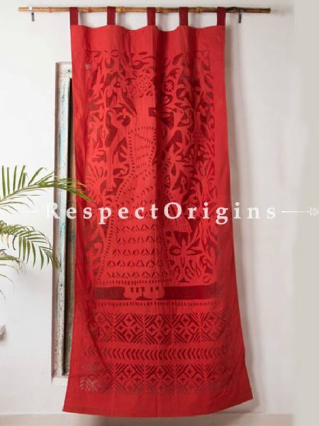 Buy Elegant Lady With Floral Design Red Applique Cut Work Cotton Window or Door Curtain; Pair; Handcrafted At RespectOrigins.com
