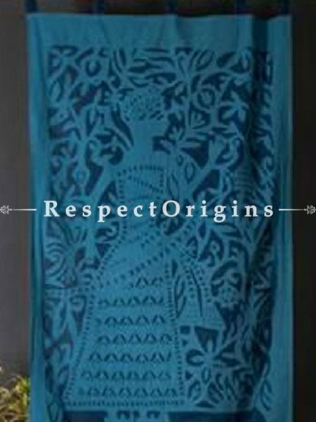 Buy Striking Lady With Floral Design Applique Cut Work Cotton Window or Door Curtain in Blue; Pair; Handcrafted At RespectOrigins.com