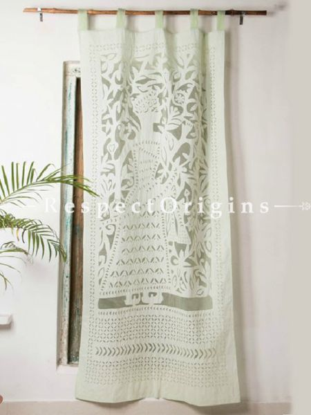 Buy Lady With Floral Design Applique Cut Work Cotton Window or Door Curtain in Green; Pair; Handcrafted At RespectOrigins.com